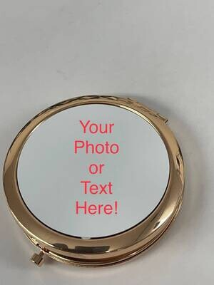 Round Rose Gold Photo Compact Mirror - Laser Engravable Back!