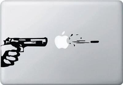 Gun Shooting Macbook Decal, Gun Shot Bullet Macbook Sticker, Macbook Air Pro Decals, Mac Decals, Laptop Decals, Apple Decal,