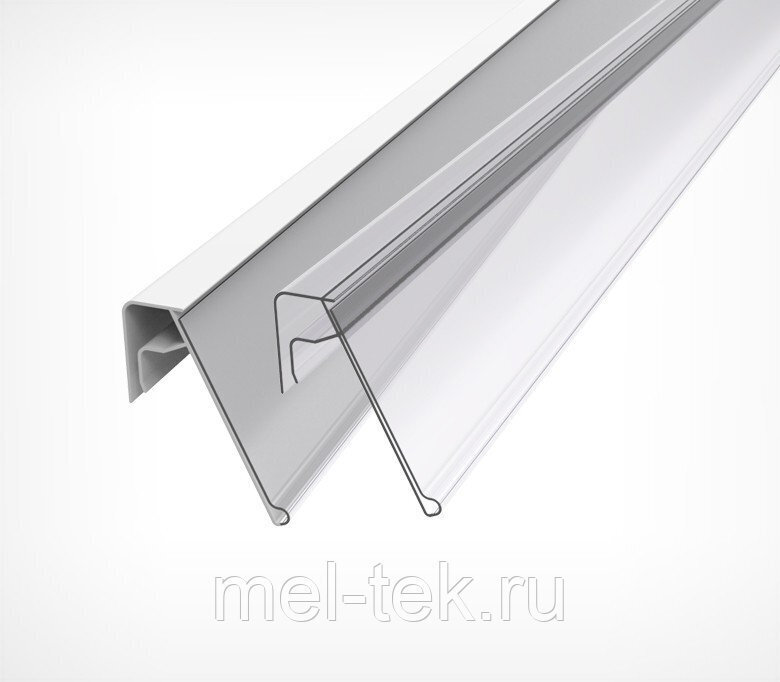 Ценникодержатель для крепления на корзины из металлических прутьев KE 39 мм длина 1,25м.