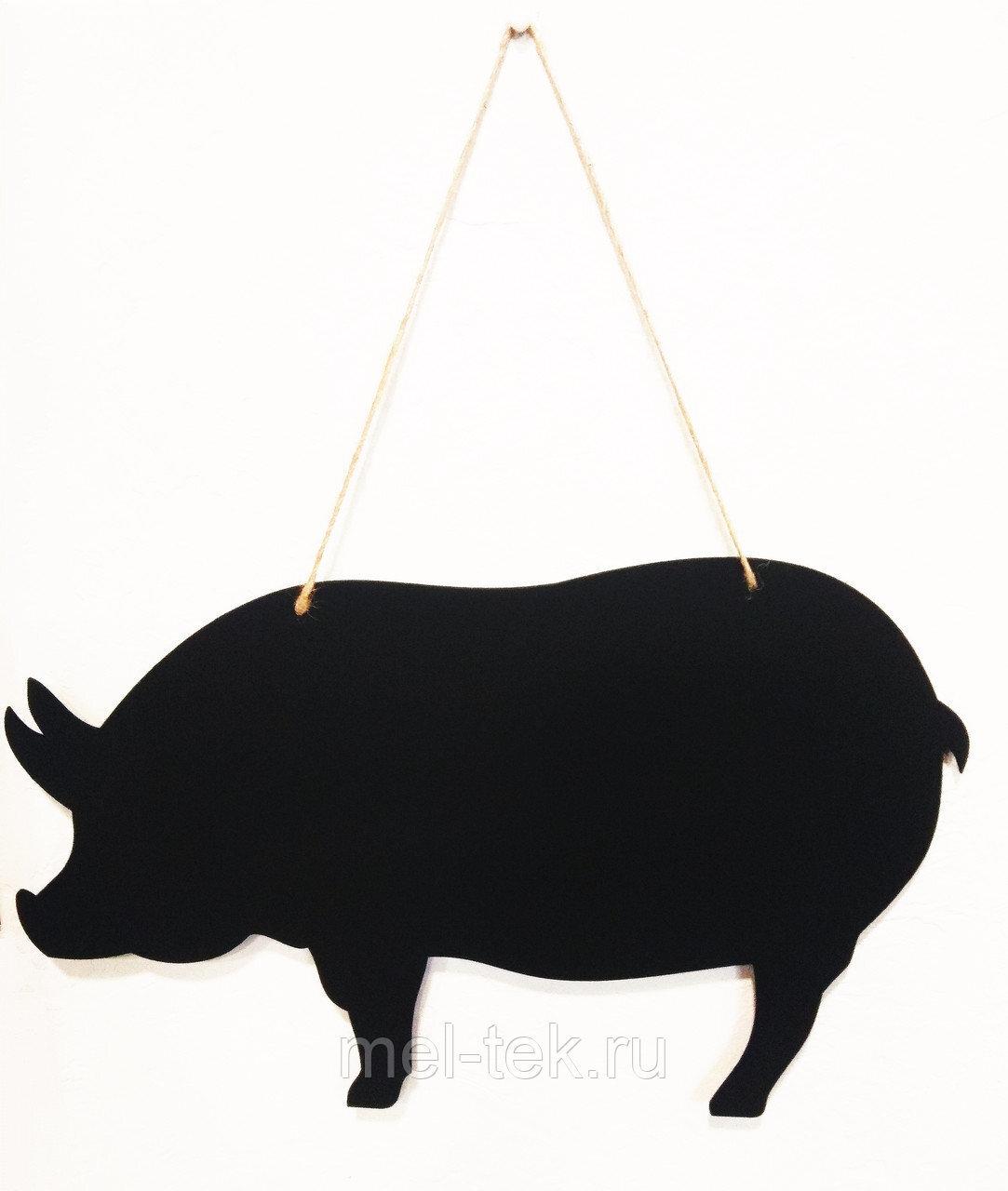 """Табличка для мела двусторонняя на веревке """"Поросенок"""", 28 х 43 см"""