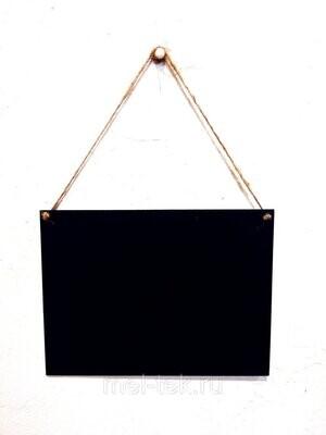 Табличка для мела двусторонняя на веревке 20 х 15 см