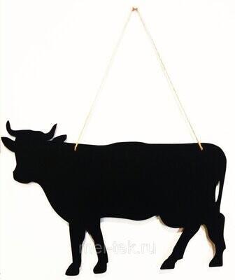 """Табличка для мела двусторонняя на веревке """"Корова"""", 27 х 42 см"""