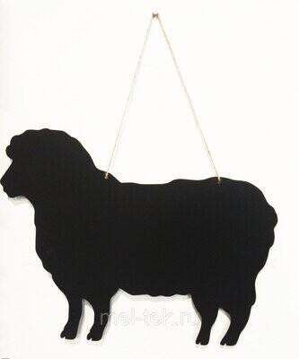 """Табличка для мела двусторонняя на веревке """"Овца"""", 34 х42см"""