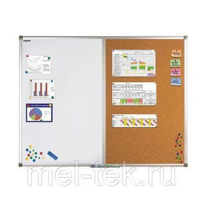 Доска комбинированная: магнитно-маркерная / пробковая 90х60 см