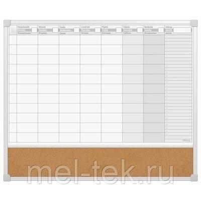 Доска-планинг НА НЕДЕЛЮ магнитно-маркерная/пробковая 60x50 см