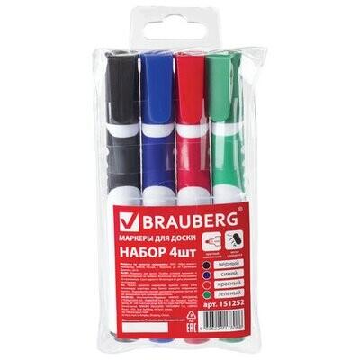 Маркеры для доски BRAUBERG, набор 4 цвета