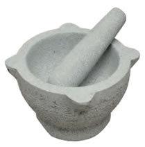 Mortier 17 cm pierre grise avec pilon