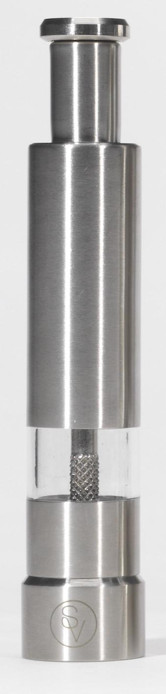 Poivrier à pression 14 cm en métal gravé S&V