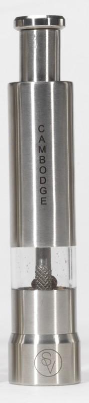 Poivrier à pression 14 cm en métal gravé S&V CAMBODGE