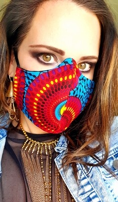 Blue and Red Traditional Mask