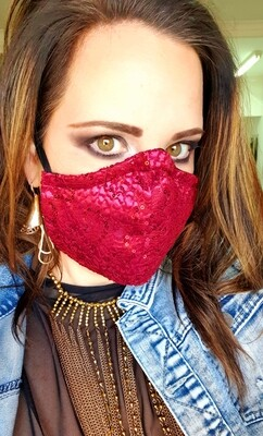 Maroon Lace Mask