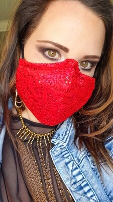 Red Lace Sequint Mask