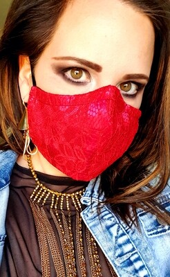 Red Lace Mask Plain