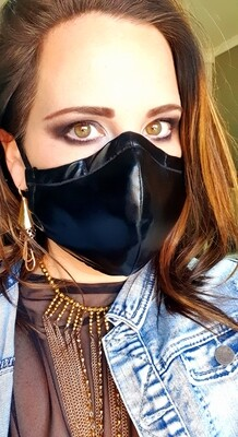 Shiny Faux Leather Material Mask