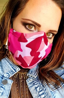 Pink and Maroon Camo Mask
