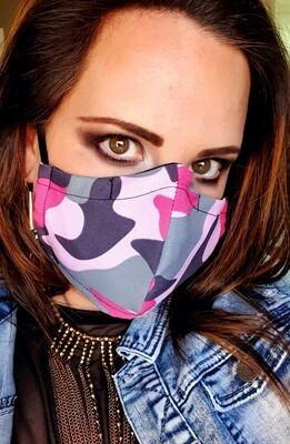 Pink and Grey Camo Mask
