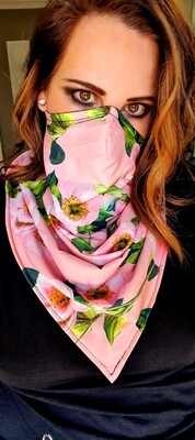 Reversible Pink Flower Scarf Mask
