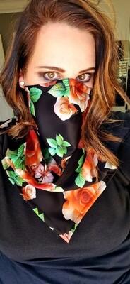 Reversible Black Flower Scarf Mask