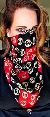 Reversible Black and Red Buckle Scarf Mask