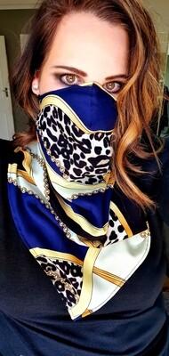 Reversible Blue Cheetah Skin Scarf Mask