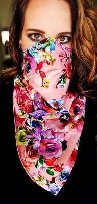 Pink Flower Scarf Mask