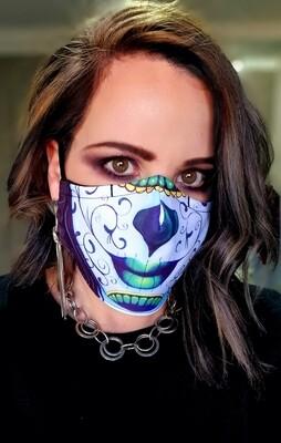 Green Sugar Skull Sublimation Mask