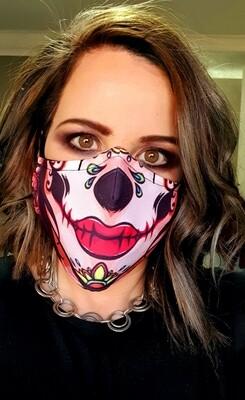 Red Lips Sugar Skull Sublimation Mask