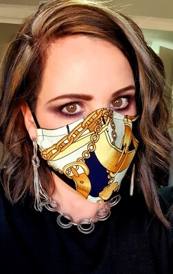 Navy and Gold Chain Mask
