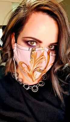 Pink and Gold Chain Mask