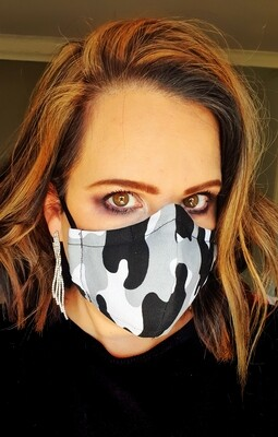 Black and White Camo Mask