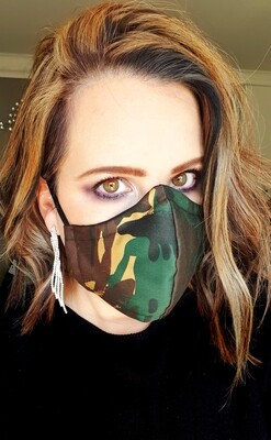 Green, Brown and Beige Camo Mask