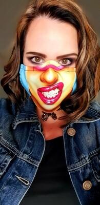Pink Lips Pop Art Sublimation Mask