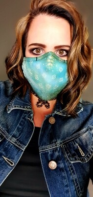 Teal Distressed Sublimation Mask