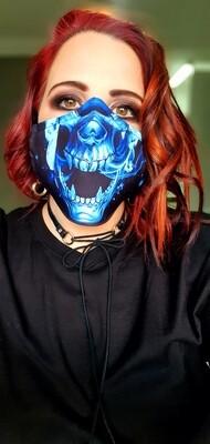 Blue Flame Skull Mask