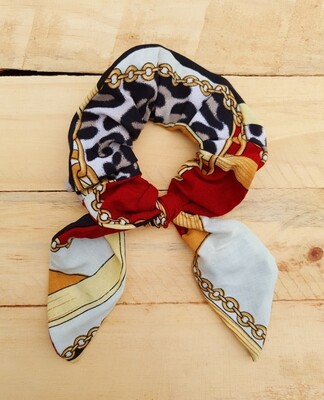 Maroon and Gold Tiger Skin Scrunchie