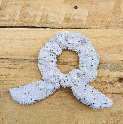 Off White Sequin Scrunchie