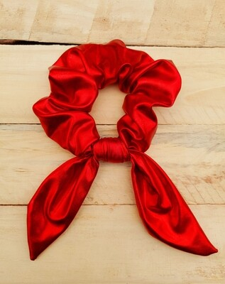 Solid Red Metallic Scrunchie