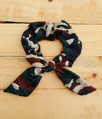 Distressed Camo Scrunchie