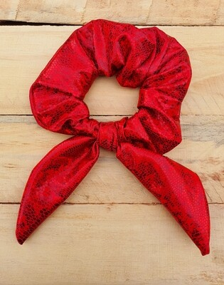 Glitter Red Metallic Scrunchy