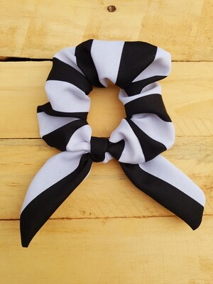 Black and White Striped Scrunchie