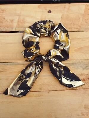 Black and Gold Metallic Scrunchie