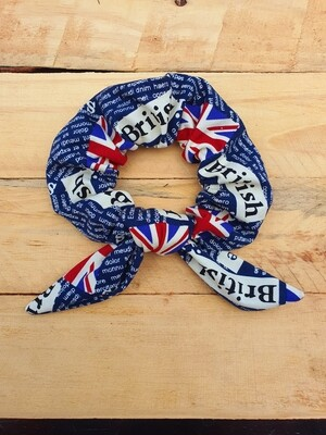 British Newspaper Print Scrunchie