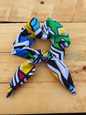 Neon Multi Color Traditional Print Scrunchie