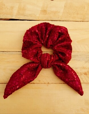 Maroon Sequins Scrunchie