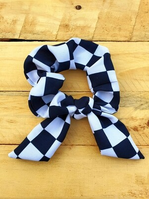Black and White Checkered Scrunchy