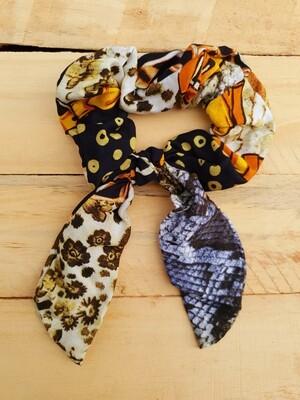 Yellow and Black Animal Print Scrunchie