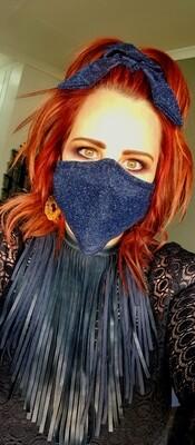 Blue Glitter Mask and Scrunchy Set