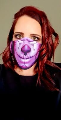 Dark Purple Sugar Skull Sublimation Mask