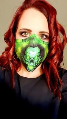 Neon Green Skull Sublimation Mask