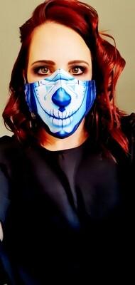 Blue Sugar Skull Sublimation Mask